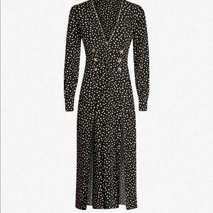 Topshop polka dot midi chiffon dress